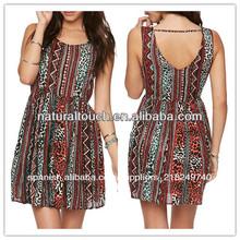 China fabricantes de ropa, las mujeres a corto diseño abierto de nuevo vestido casual( ydq03270)