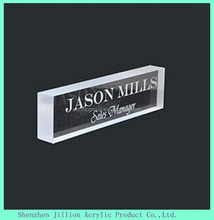 engraved printing logo acrylic block name plate stand display