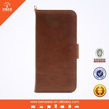 Oil waxed leather 4.7 inch with card slot and handle smart phone case for iphone 6