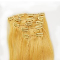 Blonde #613 double weft hair clip in human hair extensions for children