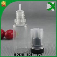 new design cap pet 10 ml eliquid dropper bottles with child tamper evident cap