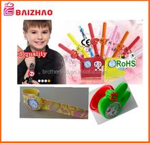 promotion new silk print silicone slap watch , kids carton nice pretty slap watch design
