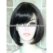 Cheap celebrity wig Indian remy human hair short bob lace front wigs with bangs for sale