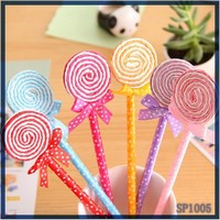 Hot selling print logo promotion cheap cute korean kids stationery candy design school ballpoint pen