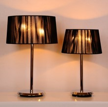 Dubai royal style modern rose golden steel table lamp with lace Lampshade