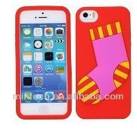 Cute Christmas stocking Flexible Gel Jelly Silicone Cases for iPhone 5S 5
