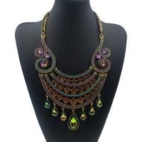 2015 New Hawaii Tropic Style Luxury Rhinestone Crystal Maxi Necklace Women Vintage Brand Boho Jewelry