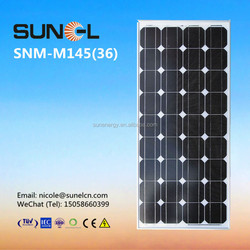mono silicon 145w 12v solar panel price per watt