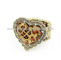 Fashion Vintage Leopard Print Heart Shaped Resin Elastic Finger Ring