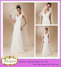 Nova marfim elegante dois- camada médio comprimento de tule e fita de borda casamento longo véu 2014( qu0875)
