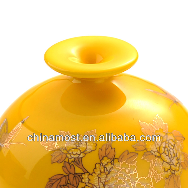 CarSetCity Chinese Ceramic Vase Perfume Seat Yellow for car and home