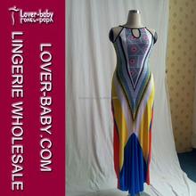 Fashion print sleeveless summer maxi dress