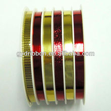 6 Strip Holographic Ribbon Roll/Christmas Plastic Printed Ribbon,holiday decorate ribbon bow
