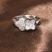 BJ083 SJ Factory Price Nickle Free Antiallergic Free Shipping to UK USA 6/7/8/9# Brass CZ Wholesale Floral Ring