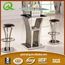 D110 xinqing bar cocktail table cheap bar table sets round glass bar table