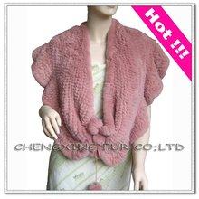CX-B-07 Genuine Rex Rabbit Fur Shawl Knitting Pattern
