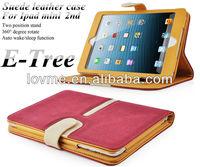 Suede buckle Leather Smart Case Rotating Case for The New iPad Mini and iPad mini 2 + Sleep Wake