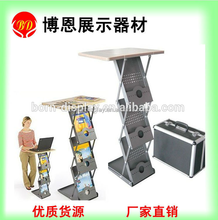 Very Easy to Pull Up and Close Office Display 3 Layers of Iron Boxes One Iron Base Brochure Holder with Wooden Table