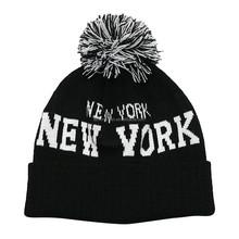 New York Knitted Beanie Pom Pom Hat with Cuff