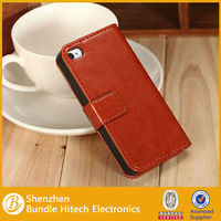 magnetic flip mobile phone leather case for iphone 4