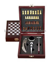 Manufacture wholesle wine accessories wooden gift sets with wood chess