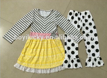 Wholesale baby cheap price clothing sets boutique dress matching ruffles dots pant sets 100% cotton fall winter outfits kids set