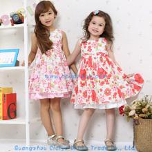 2014 fashion summer cotton flower party baby girls dress designs