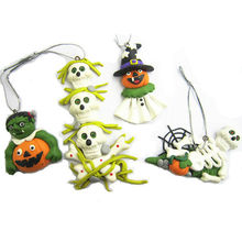 polymer clay Halloween Decoration skeleton and pumpkin ornament
