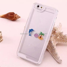 Dolphin liquid case skin cover for iphone 5G 5S, smart water case for iphone 5