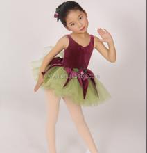 girls leotard dance ballet dress skirt tutu-fluffy tutu skirt -purple flower velvet spark mesh- dress green