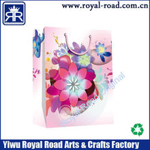Delicate flower printing shopping paper gift bag package paper bag