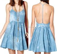Denim Blue Bleached Spaghetti Straps dress T-shaped Backless A Line Ruffle Denim Dress