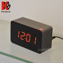 Wholesale woodem desk clock decorative LED electronic clock for business gift