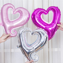 fashion 18 inch pink silver hollow heart balloon