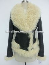 2012 newest genuine leather down jacket with sheep fur for women