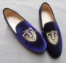 Embroidered Custom Men's Velvet Smoking Slipper Loafer