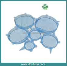 Soft silicone universal stretch lid for cups, pots, bowls, pans and contains (set of 6 ,BPA free ,same as seen on TV)
