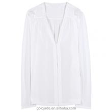 Seda de moda dama blusa, blusa para mujer mediana edad, blusa de la gasa
