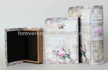 Set of 3 PCS High Quality Decorative Vintage Book Storage Boxes Book Shape Boxes Book Case PU Leather Box MDF Core