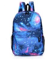 2015 Hot Sale Fashion Unisex Canvas Star Sky Printed Teenager School Bag
