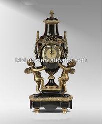 European Style Cherubs Porcelain Gold Plated Table Clock,Ceramic Art Porcelain Enamel Antique Table Clock For Home Decor