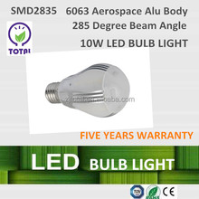 LED bulb light 10W, E27, LED Bulbs ,285 degree beam angle,with CE certificate and five years warranty