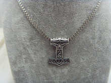 Men's 316L Stainless Steel Thor's Hammer Viking Pendant Necklace Chain