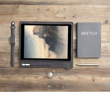 Grey matte leather sleeve for ipad air/mini with pencil barrel