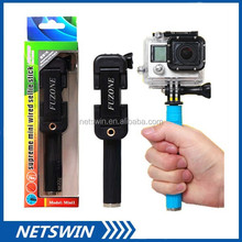2015 New Super mini smallest audio Cable Wired wire Selfie Stick Monopod Foldable Folded Fold Pocket Size Pen Shape Take Pole