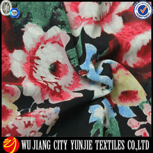 100% flor tecido estampado vestido de chiffon