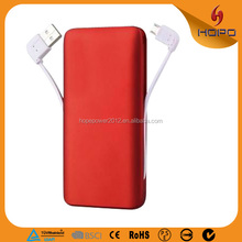 5000mAh battery charger with charging cable inside portable mobile phone charger