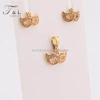 Jewelry design Custom metal jewelry charming mask pendant jewelry set small white rhinestone earrings