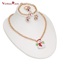 WesternRain Lovely Xmas Gift for Women,Colorful Snowman Jewelry for Popular Christmas Jewelry Gift Necklace Set,Cute Earrings
