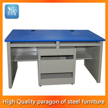 2013 new design modern 360 degree rotatable MDF high gloss white computer desks with shelf for sale